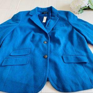 New Talbots Aqua Blue Wool Blend Blazer Jacket 22W